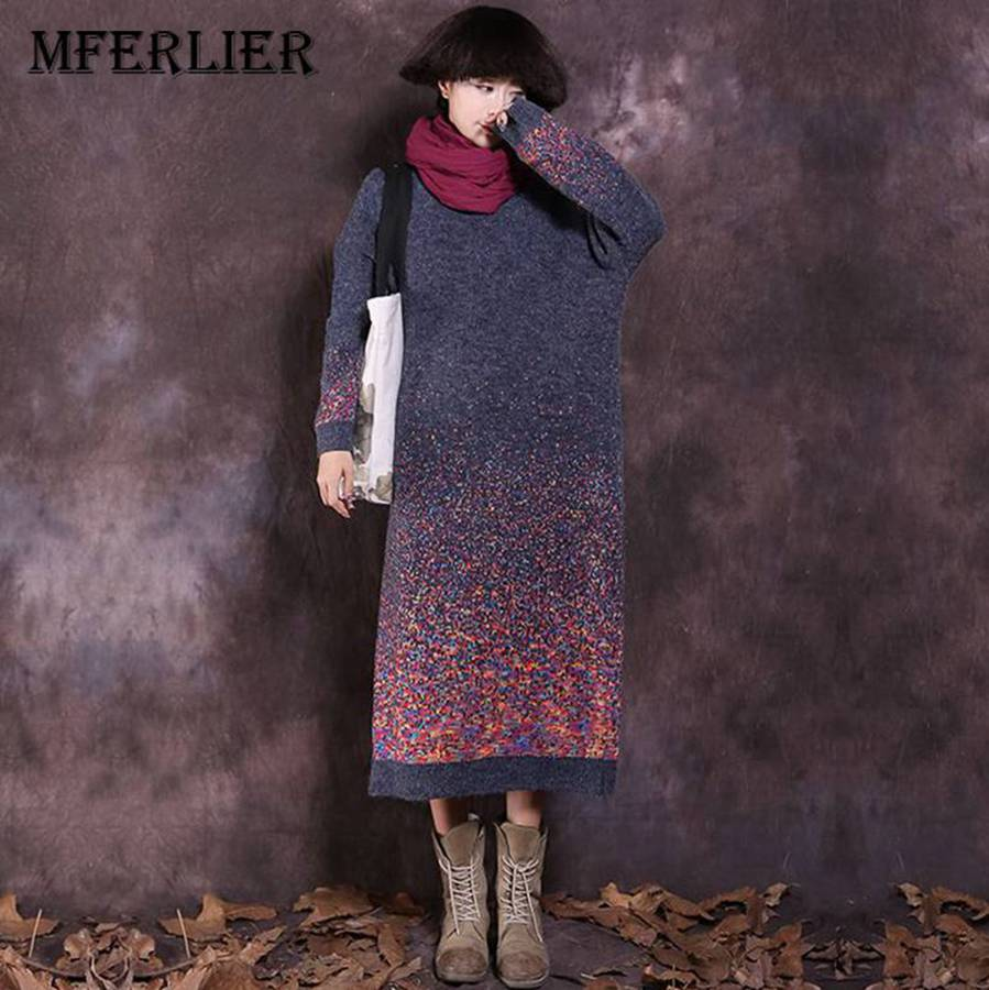 Mferlier Winter Dress O Neck Long Sleeve Women Dress Batwing Sleeve Winter Sweater Dresses Warm Dress batwing sleeve pocket side curved hem textured dress