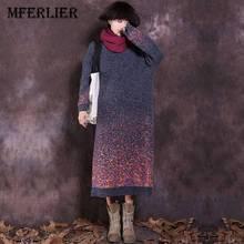 """Mferlier зимнее платье o Средства ухода за кожей шеи с длинным рукавом женское платье рукав """"летучая мышь"""" зимний свитер Платья для женщин теплое платье"""