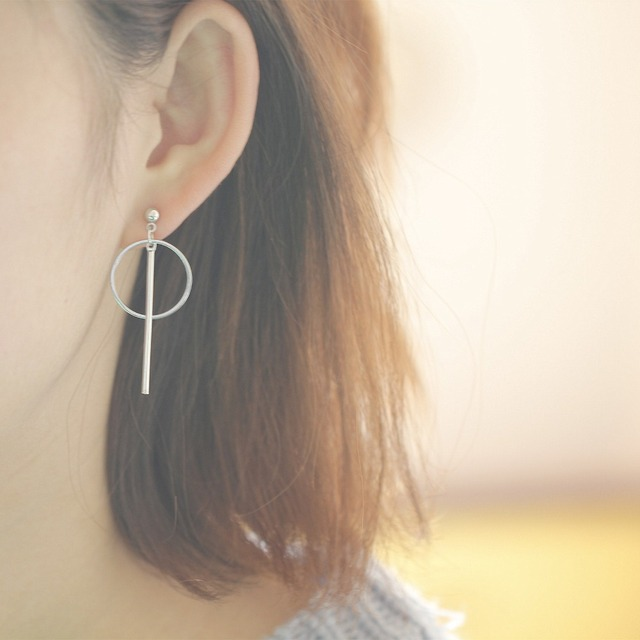 Long Circular Stud Earrings For Women