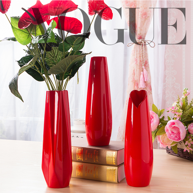 rouge couleur en c ramique vase grande taille fleur rouge vase en porcelaine moderne mode de. Black Bedroom Furniture Sets. Home Design Ideas