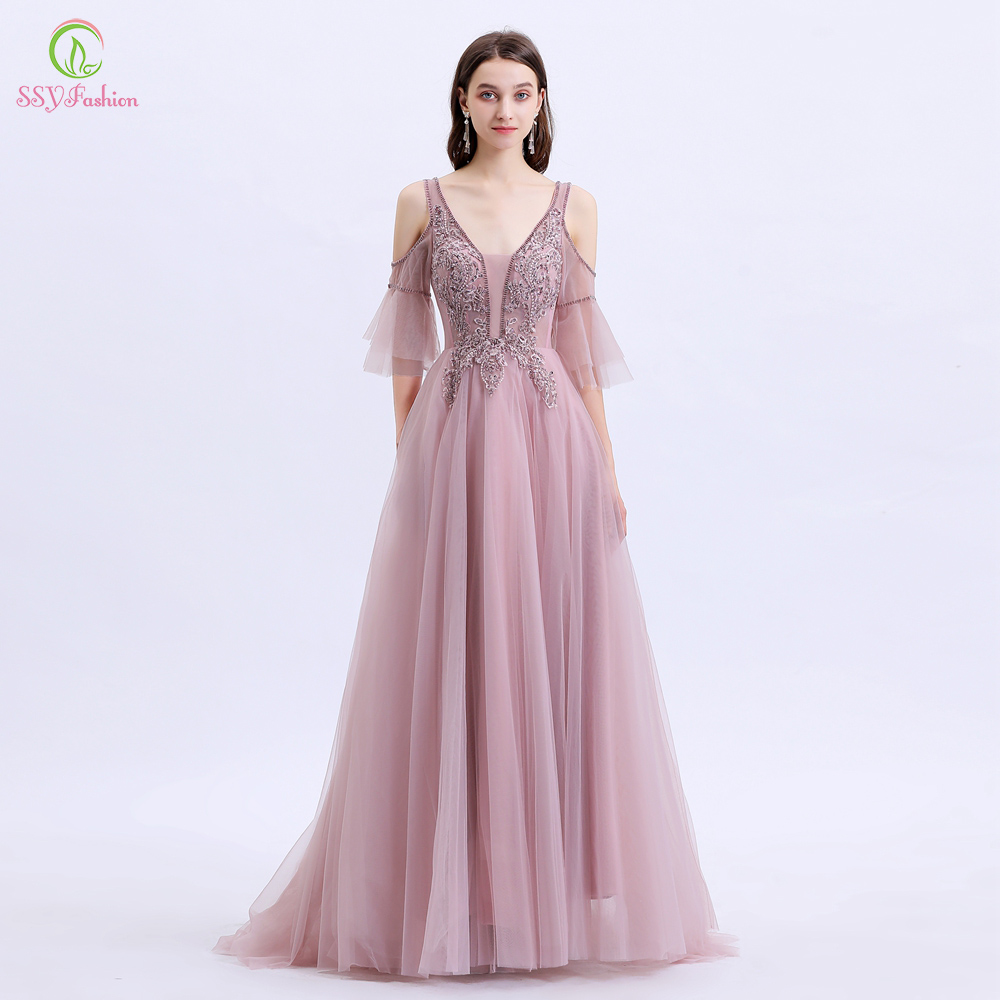 SSYFashion New Formal Dresses Women Elegant Banquet Sweet Pink Lace Appliques Beading Formal Evening Gowns Vestido De Noche