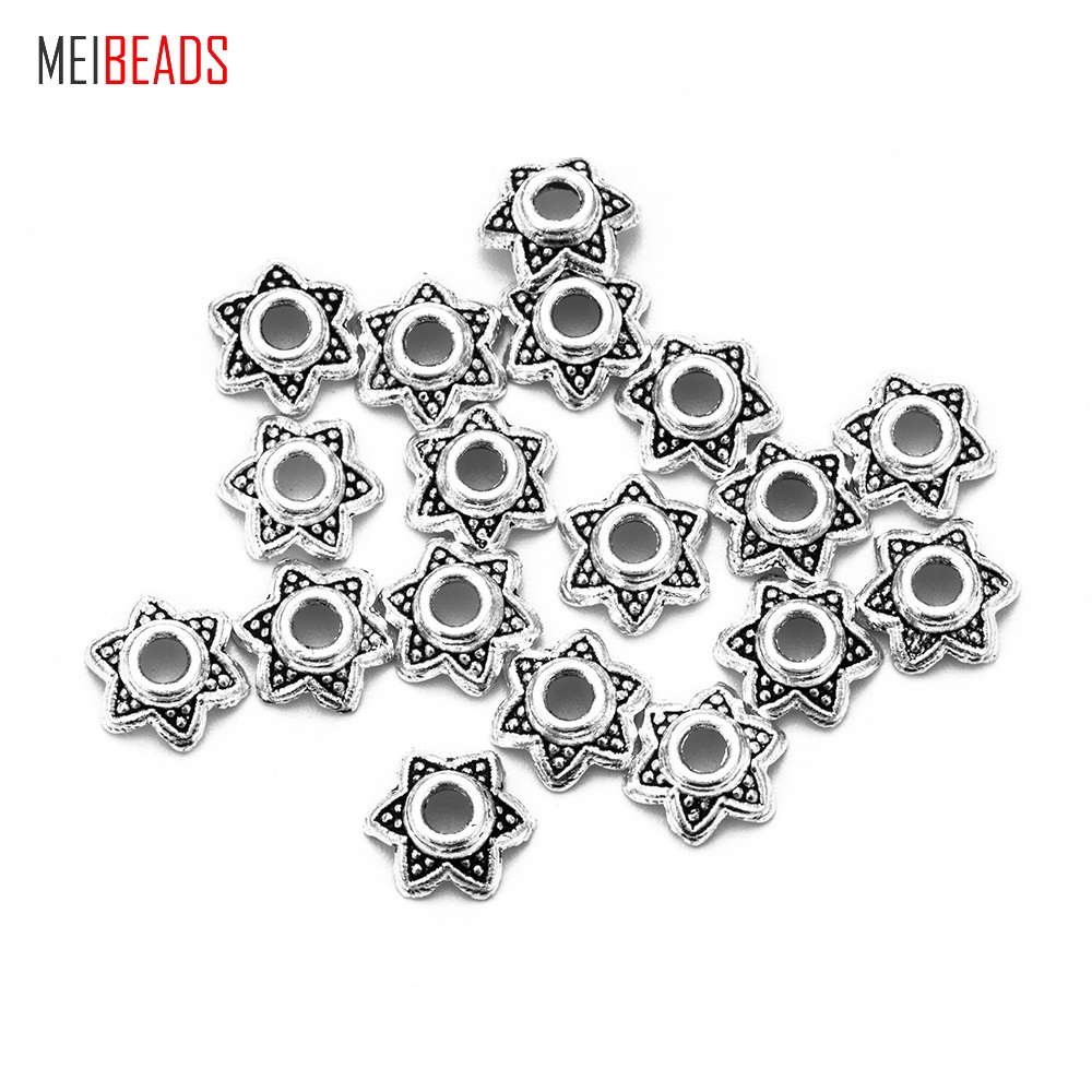 MEIBEADS 50 Pcs/lot 6 Mm Alloy The Ancient Silver Bead Caps Receptacle Jewelry Findings Accessories UF7039