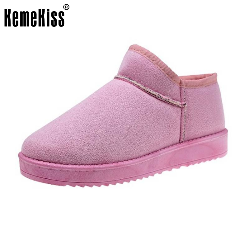 KemeKiss 5 Colors Women A Flats Boots Thick Fur Warm Shoes For Cold Winter Shoes Snow Botas Women Footwears Size 36-40