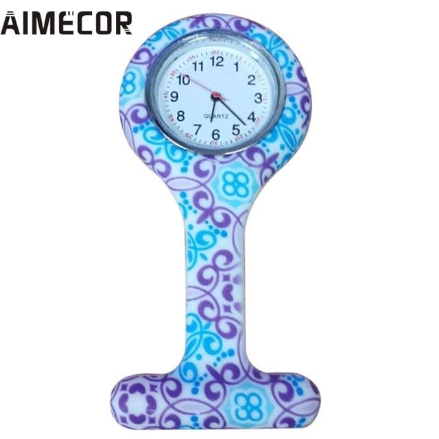 Aimecor Geometric Flowers Silicon Nurse Doctor Paramedic Tunic Brooch Fob Watch