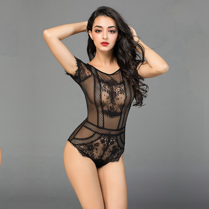Fetish Women Sexy Lingerie Bodysuit Black Lace Fishnet Body Transparent Bodystocking Sexy Night Baby Doll 6933