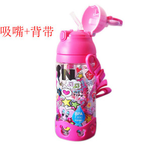 Image 5 - 500ml Disney princess mickey children water cup with straw Lanyard bottle primary school boy girl baby portable water kettle