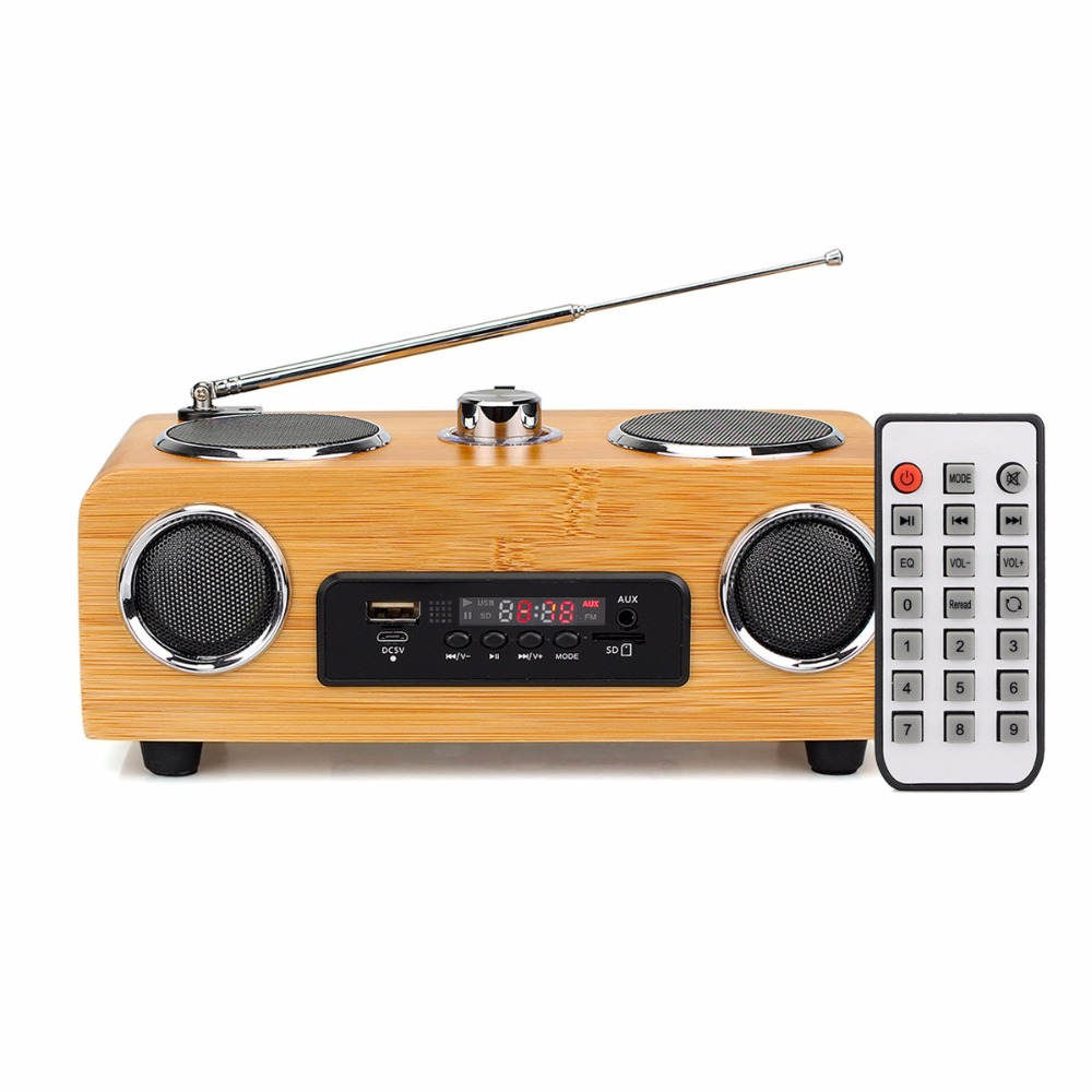 FM Stereo Radio Multimedia Speaker Classical Handmade Bamboo Radio Station Mucis Player Portable Radio FM Remote Control Y4113O 5pcs pocket radio 9k portable dsp fm mw sw receiver emergency radio digital alarm clock automatic search radio station y4408