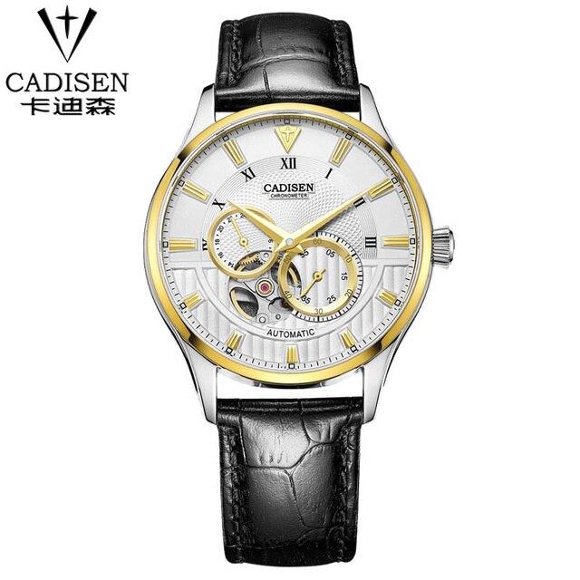 CADISEN Top Mens Montre De Mode De Luxe Simple D'affaires Saphir Cristal Cadran Fenêtre 50 m Étanche Horloge Hommes en cuir Montre-Bracelet