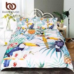 BeddingOutlet 3 Pcs Toucan Duvet Cover With Pillowcase Tropical Plant Pineapple Bedding Set Soft Flower Quilt Cover Wholesale