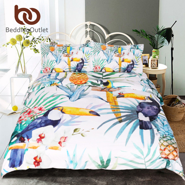 BeddingOutlet 3 Pcs Toucan Duvet Cover With Pillowcase Tropical Plant Pineapple Bedding Set Soft Flower Quilt Cover Wholesale