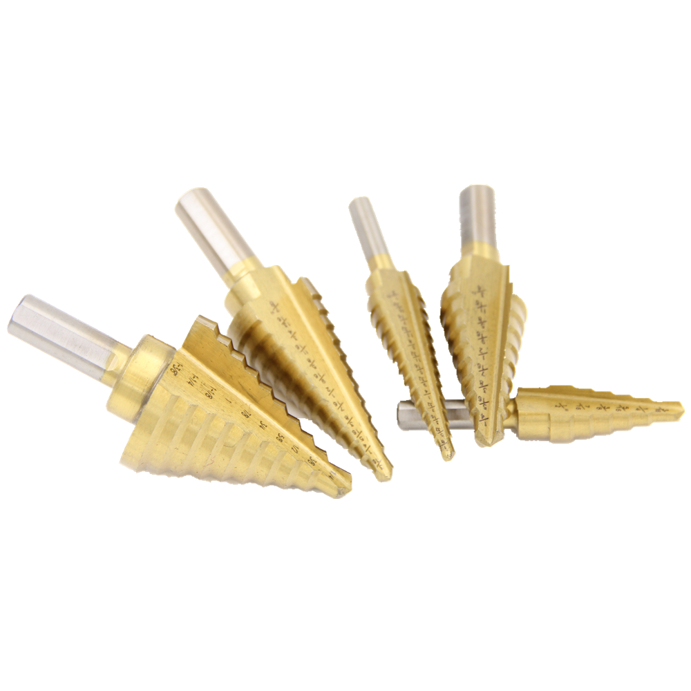 HSS Step Drill Bits1/4 to 3/4 Woodworking Power Tools Wholesale Price 5pcs/set metal Drilling TitaniumTriangular handle step drill power tools 3pc drill bit wood countersink hss step drill bits set woodworking power tools metal hole opener
