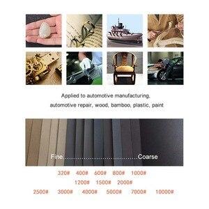 "Image 4 - 42 Pcs Waterproof Sandpaper 320 to 10000 Grit, 9"" x 3.6"", for Wood Furniture Finishing, Metal Sanding and Automotive Polishing"