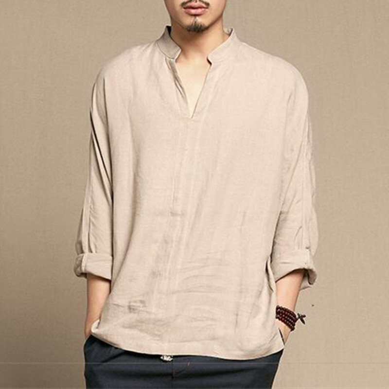 Chinese Style Linen Shirt Men Casual Breathable Soft Long Sleeve Casual Shirt Vintage Retro Clothing Hombre 2020 New Spring