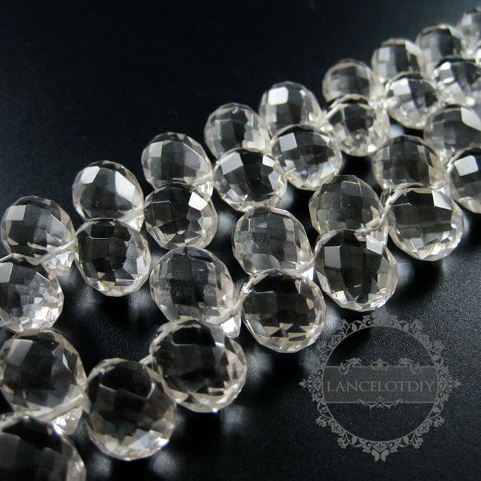 13x16mm faceted tear drop shape crystal quartz DIY earrings charm loose beads supplies findings 3000054