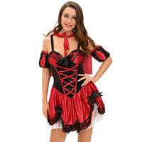 Fantasias Sexy Erotic Role Play Clothing 4pcs Miss Red Riding Hood Costume Women Deguisement Adultes Femme
