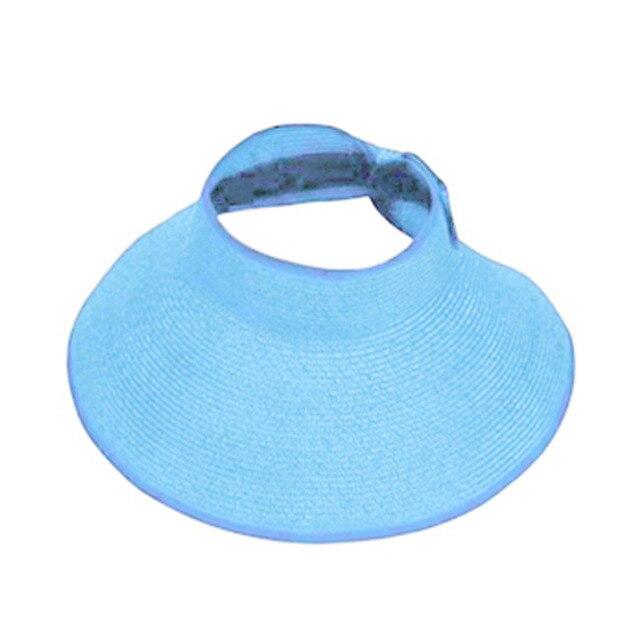 cfe78b06ff2a72 Lady Women Summer Sun Beach Folding Roll Up Wide Brim Straw Visor Hat Cap  Elegant Hats Girls Vacation Tour Hat dropshipping