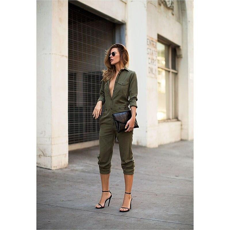 cb7aeb803314 Fashion Sexy Women V-neck Long Sleeve Pockets Jumpsuit Clubwear High Waist Army  Green Regular