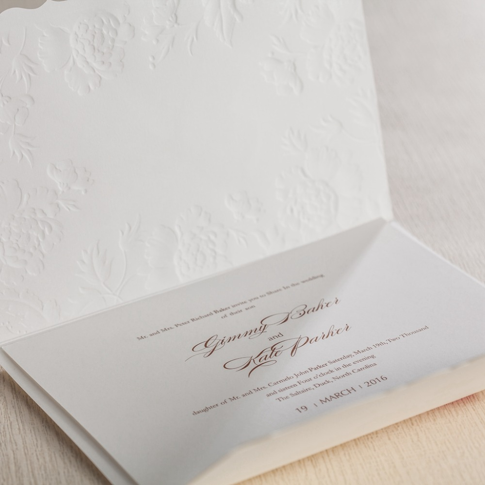 CW5199 white embossed laser cut wedding invitation free shipping ...