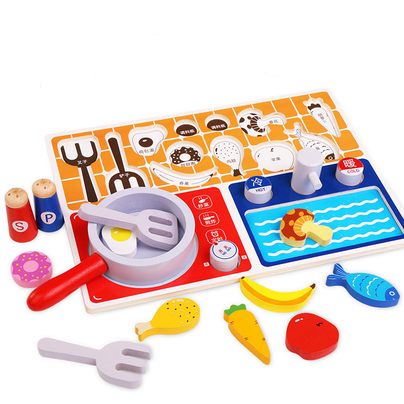 Kids Pretend Chef Game Toy Wooden Cosplay Simulation Flat Kitchen Accessories Tools Children Puzzle Early Education Toys TY0417