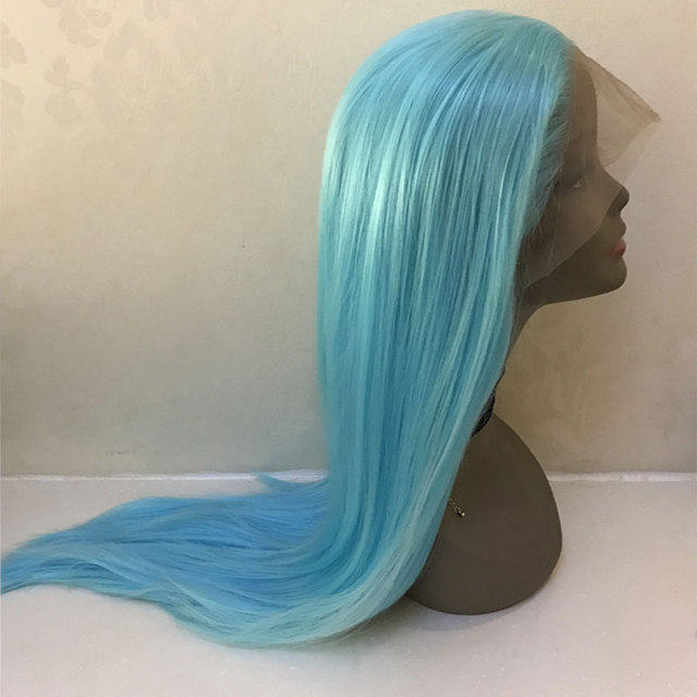 Bombshell שמיים כחול ישר סינטטי שיער תחרה מול פאת Glueless טבעי קו שיער עמיד בחום סיבי שיער לנשים פאות