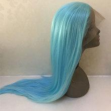 Bombshell peluca con malla frontal para mujer, pelo sintético liso azul cielo, línea de cabello Natural sin pegamento, fibra resistente al calor