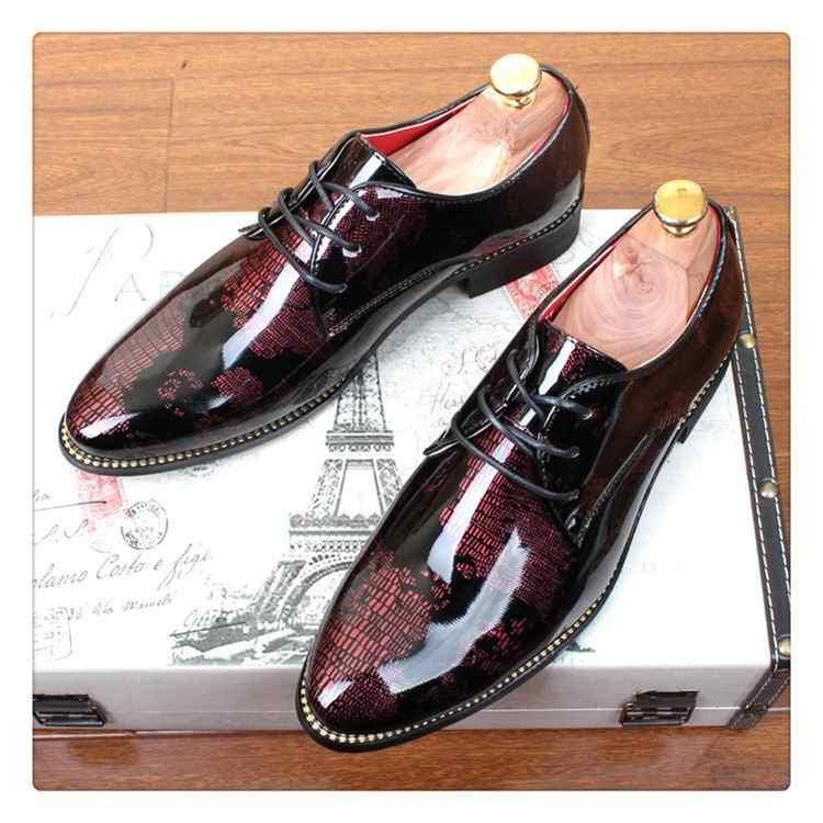 feef1414254 ... ERRFC Designer Men Black Dress Shoes Gold Shadow Patent Leather Luxury  Fashion Groom Wedding Shoes Men ...