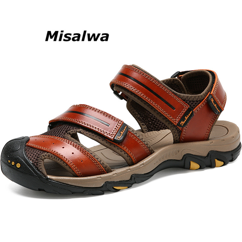 Misalwa Mens Sandals Genuine Leather Summer 2018 Fashion Shoes Men Breathable Non-Slip Beach Casual Quality Flip Flops