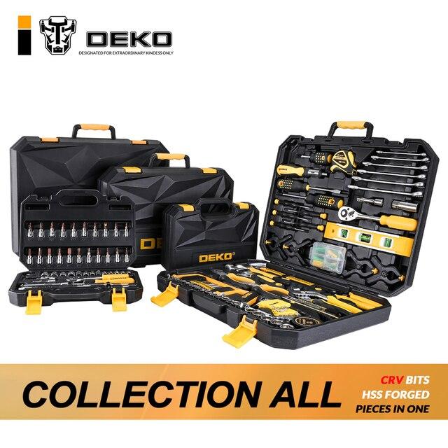 DEKO ручной инструмент набор общего домашнего ручного инструмента набор с пластиковым Toolbox чехол для хранения отвертка с гаечным ключом нож