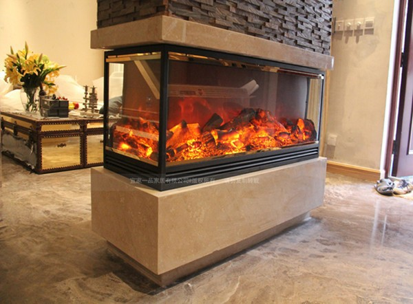 This Fireplace Is Two Face Double Sides View Fire Electric