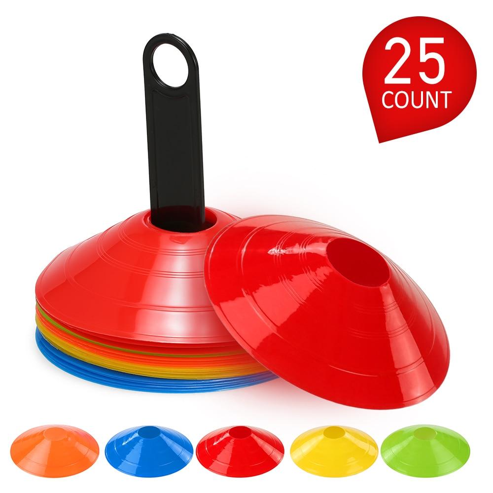 Набор дисковых конусов 15 шт./25 шт., мульти конусы для спортивных тренировок, с пластиковой подставкой, для футбольного мяча, игрового диска