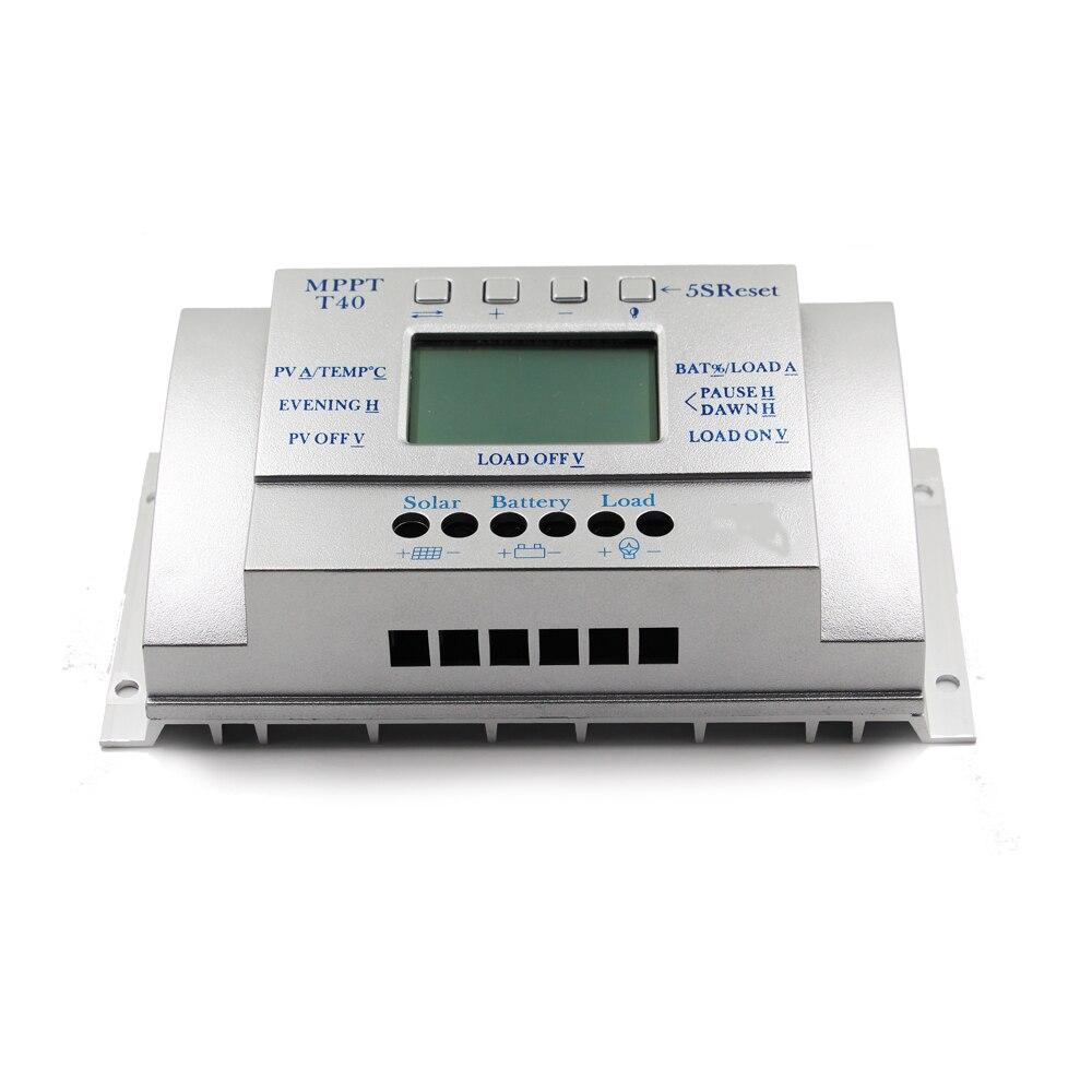MPPT T40 40A régulateur de Charge solaire 12 V 24 V contrôleur d'affichage LCD automatique avec Charge double contrôle de minuterie pour système de réverbère - 3