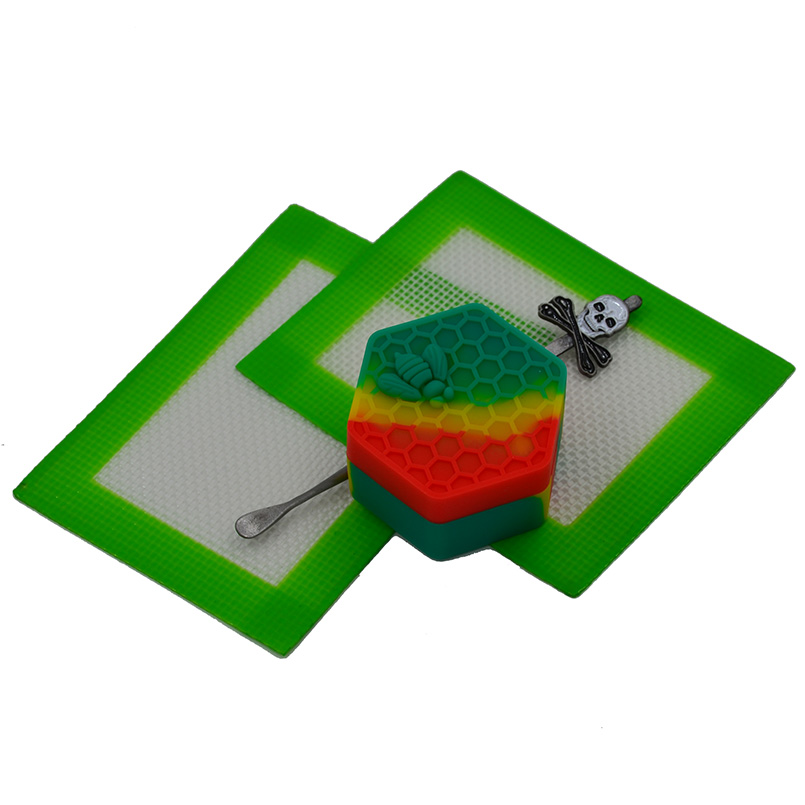 26ml FDA hexagon honeybee Silicone wax container Storage Dab wax jar+ 1pc Bho Dabber Carving tool+2pc Baking dab Silicone pads