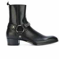 Luxury black brogue ring buckle iron chain boots banquet wedge fashion motorcycle knight male Boots
