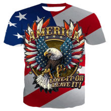 Di nuovo modo di T-Shirt Flying Eagle stampato USA Flag Neutro Manica Corta T-Shirt top tee(China)