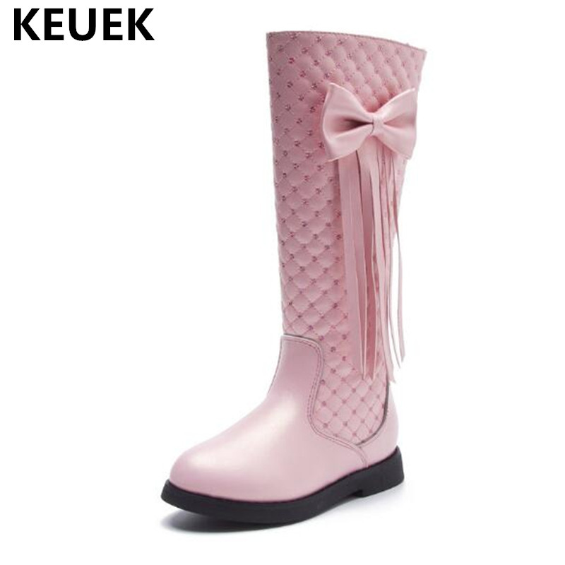 2018 Fashion Butterfly-knot Fringe Knee-High Boots Girls Winter Snow Boots Children Warm Short plush Leather Boots Kids Shoes 04 цены онлайн
