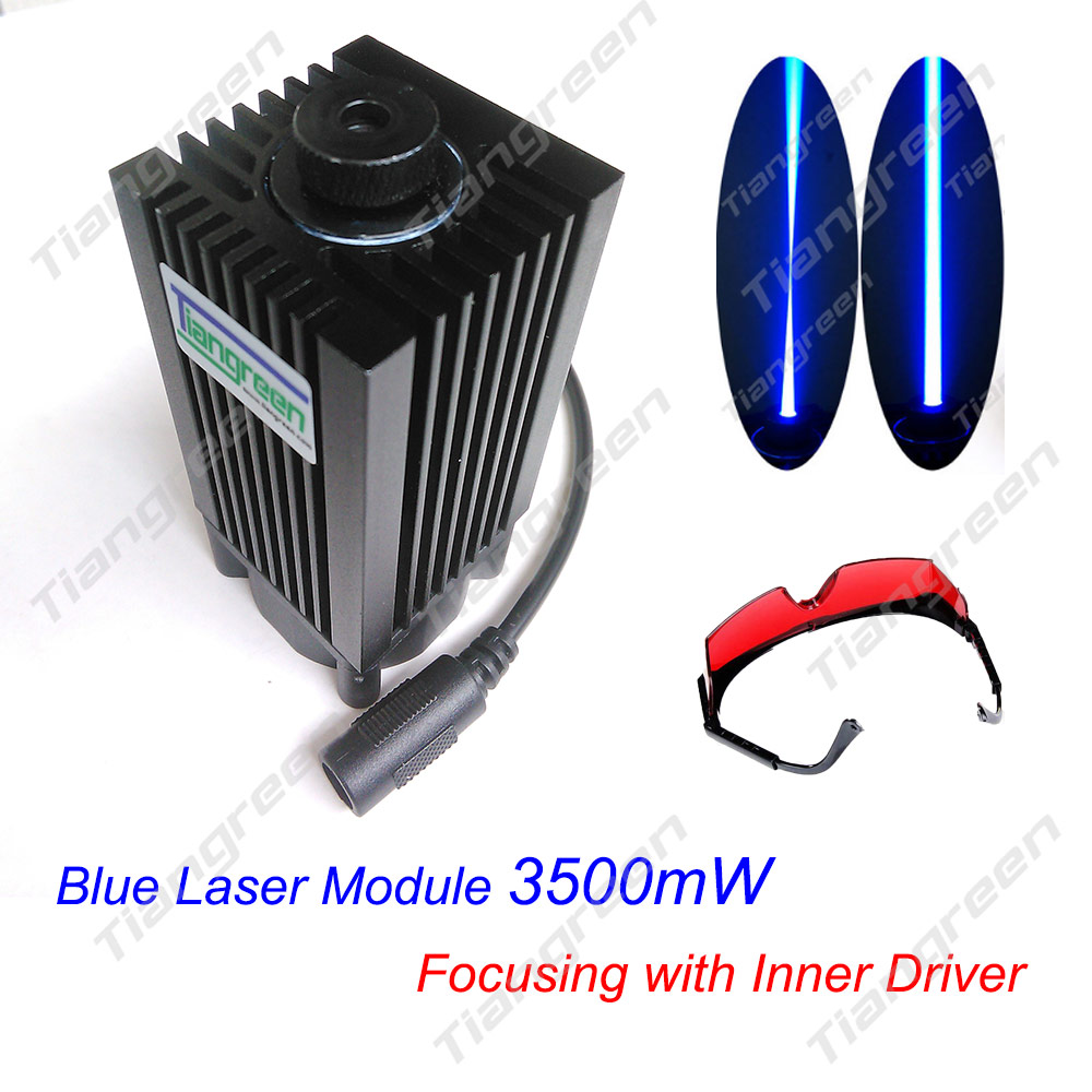 tgleiser 3.5W 450nm 445nm Blue Module CNC Carving w/ 3500mW High Power Laser Diode free glasses as gift tgleiser 3 5w 450nm 445nm blue module cnc carving w 3500mw high power laser diode free glasses as gift