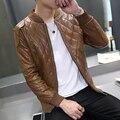 2017 новых людей кожаная куртка Корейских подиумы должны Тонкий кожаный пиджак PU высокого качества 2 цвета 7 размер горячая продажа бесплатная доставка