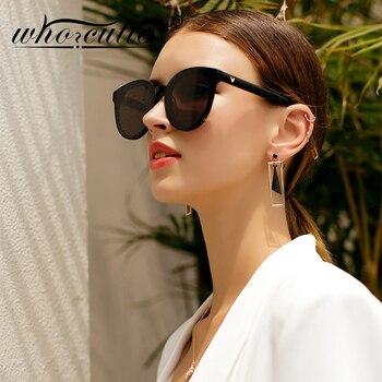 f727ddd45b 2019 Corea Vintage ojo de gato gafas de sol de las mujeres hombres,  diseñador de marca, tortuga Shell de ojo de gato gafas de sol de mujer  negro tonos S001