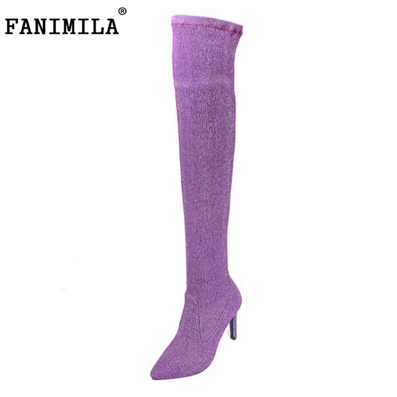 FANIMILA Size 33-43 Women Genuine Leather High Heel Over Knee Elastic Boots Women Pointed Toe Warm Shoes Women Thigh High Botas avvvxbw 2016 new brand long boots fashion elastic over the knee boots shoes woman square heel genuine leather thigh high boots