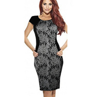 Women Summer Dresses Hot Sale New Fashion Lace Patchwork Short Sleeve Wear To Work Size S