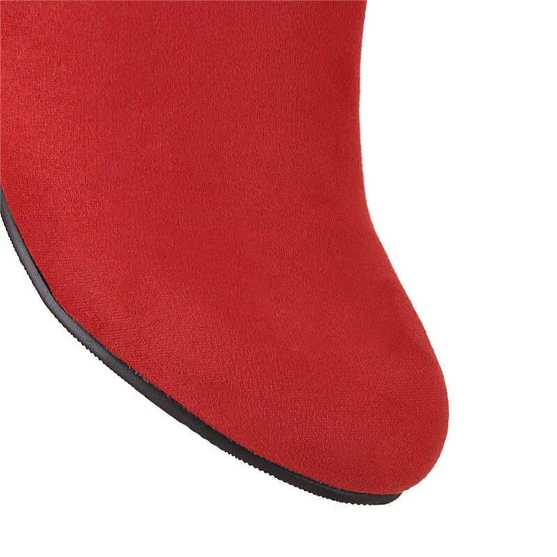 Ocasionales Negro deep 2018 Invierno Otoño Brown rojo Cómodos Redonda Bowknot Blue Zapatos Punta Mediados Pantorrilla De Dulce Llegada Flock La Memunia Mujeres Nueva light UqzwdHHa