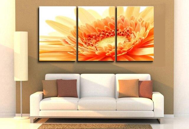 Dekorative Bilder Wohnzimmer ~ Stücke orange blumen ölgemälde dekorative moderne leinwand kunst