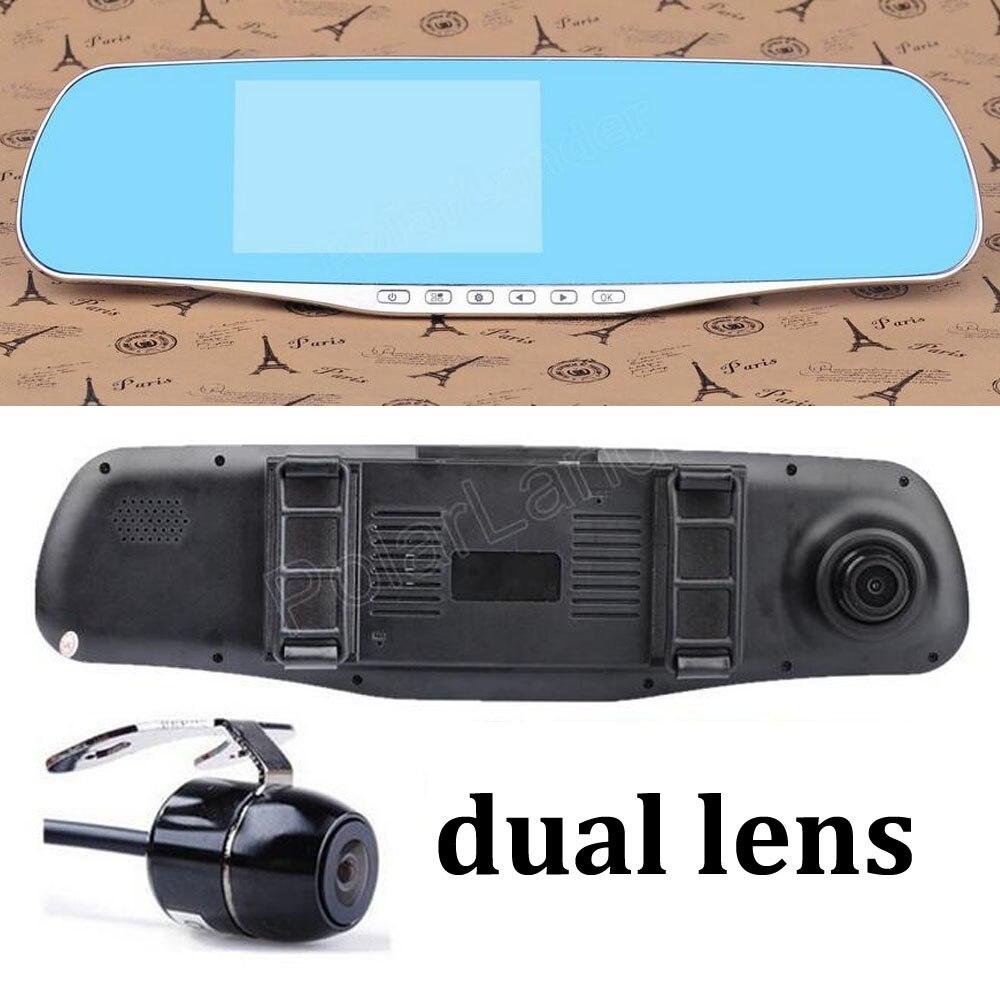 4.3 pouces Full HD 1080 P double lentille examen miroir voiture DVR caméra arrière caméscope dash cam g-sensor enregistreur vidéo zoom numérique