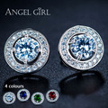 Angel Girl 4 Colors fashion jewelly Round shape White Gold Plated Cubic Zirconia Stud Earrings for Women wedding Christmas gift