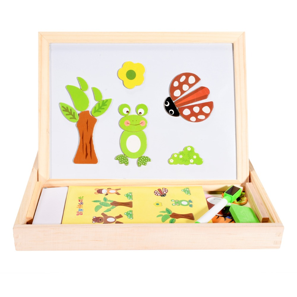 Fantastic Wooden Animal Multifunctional Educational Magnetism Easel Doodle Drawing Easel Board Jigsaw Blackboard Toys For Child mylb educational farm jungle animal wooden magnetic puzzle toys for children kids jigsaw baby s drawing easel board