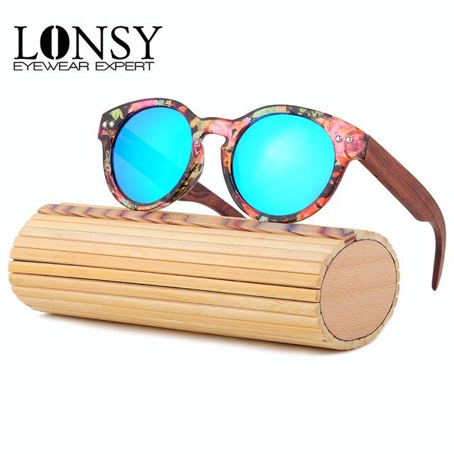Lujo lonsy bambú redondo Gafas de sol mujeres madera Gafas de sol hombres  polarizados UV400 alta calidad marca Gafas de sol 4c9426edb991
