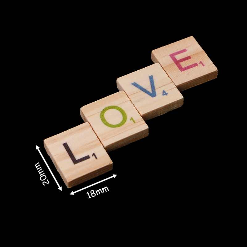 100pcs Wooden Block Tiles Colorful Letters Number Craft Wood Puzzle Alphabet