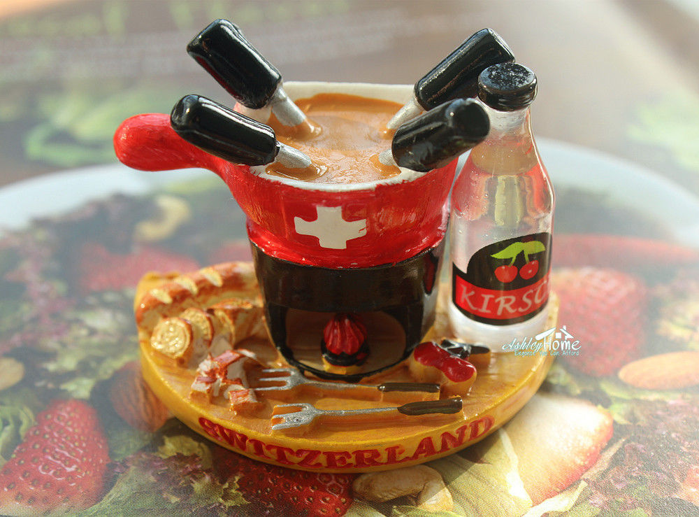 Swiss Fondue, Switzerland Tourist Travel Souvenir 3D Resin Decorative Fridge Magnet Craft GIFT IDEA