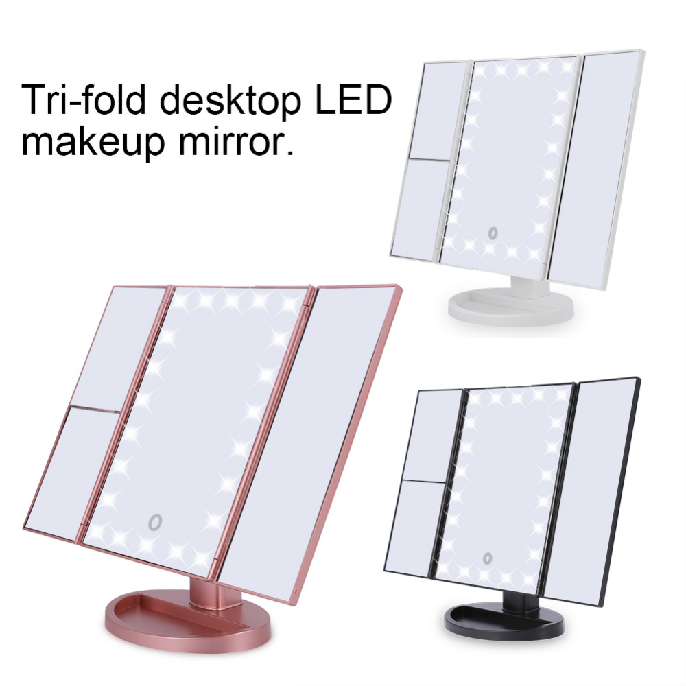 22 Led Tri Fold Makeup Mirror Led Lights 2x 3x Magnification Touch