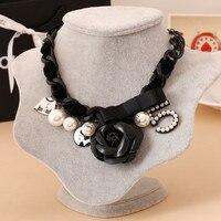 Rose Number 5 Bow Statement Necklace Charms Fashion Choker Necklace CNANIYA Brand Women Designer Jewelry Joyeria Collar Perlas